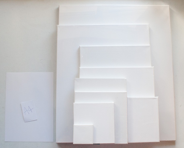 Canvas Sizes next to A4 Paper