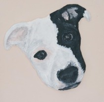 """'Stella Puppy head' 3D acrylic painting by artist Purple Faye"