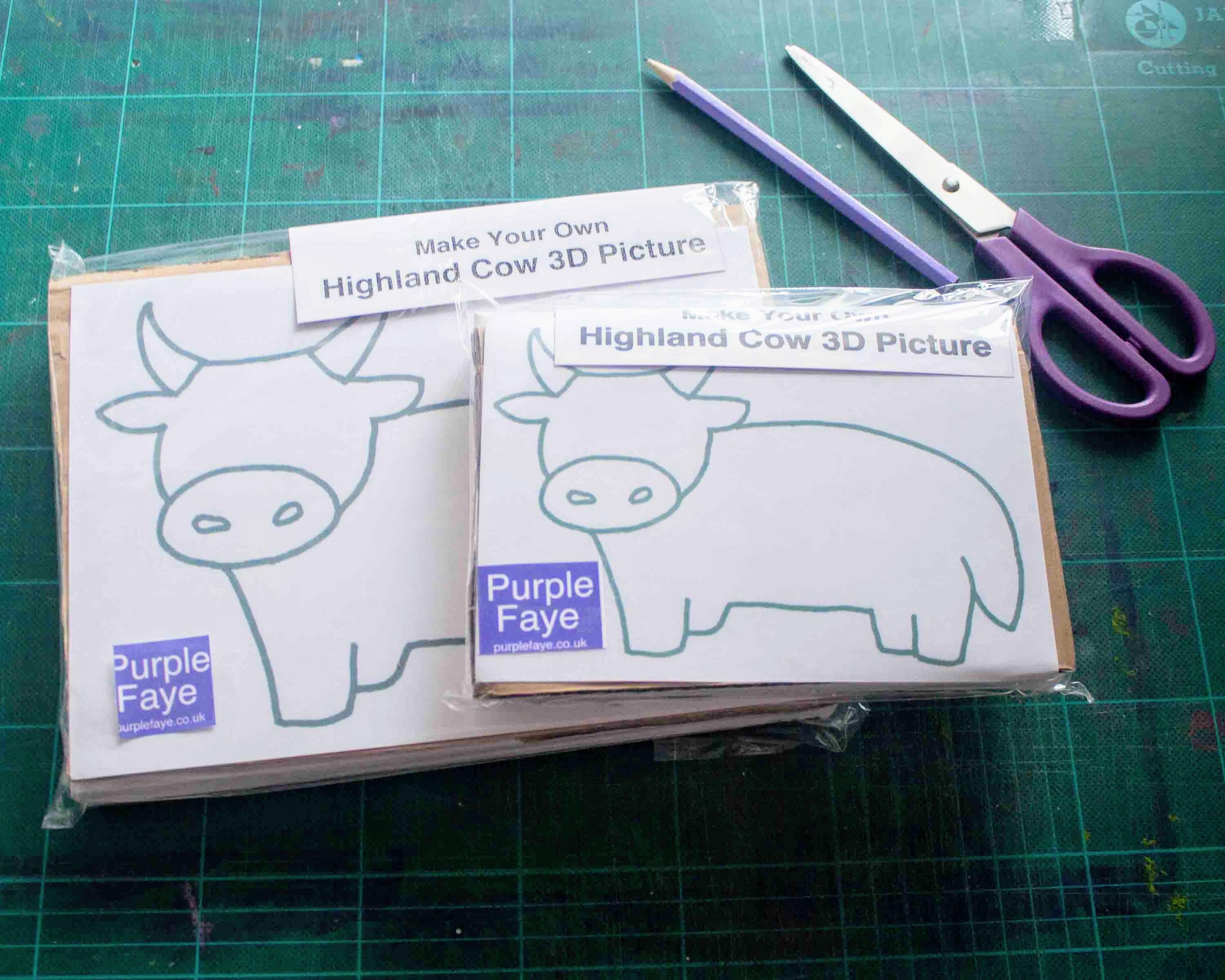 Make Your Own Highland Cow 3D Picture Craft Kit by purple loving Yorkshire, UK, artist Purple Faye